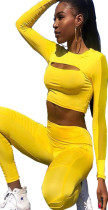 Yellow front cut out midriff and bodycon pants sport set CM179