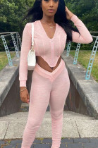 Pink Casual Polyester Long Sleeve Ruffle Utility Blouse Long Pants Sets LD8764