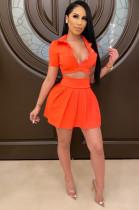 Orange Cute Sexy Short Sleeve Button Front Frill Trim Tee Top Above Knee / Short Skirt Sets ZS089
