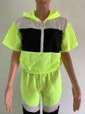Rose Red Summer Mesh Color Block Zipper Sports Outfits OEP6002