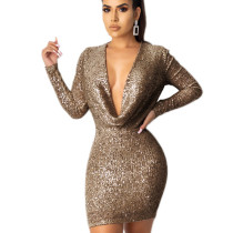 Coffee Explosion Models Long Sleeved Solid Sequin Bodycon Dress JLX8921