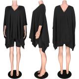 Black Solid Color Three-Quater Sleeve Loose Pleated Hem T-Shirt GL6235