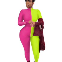 Fluorescent Green Bodycon Contrast Color Zip Up Polyester Jumpsuit QQM3890