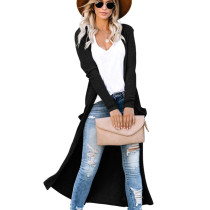 Black Double Layer Full Knell Long Coat with Patched Pocket WY6630