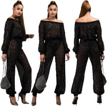 Sexy See Through Suits Off Shoulder Top Sequins Pants JLX9359
