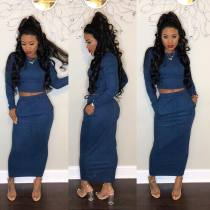Blue Knitting Crop Tops Ankle Skirts Suits H1078