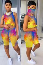 Tied-dye Shirt Crop Top & Shorts Sets QQM4019