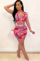 Plate Number Zip-up Off Shoulder Crop Top & Mid Waist Skirt Sets ShCCY8411