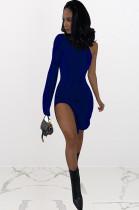 Navy Blue One Shoulder Side Slit Mini Dress NK095