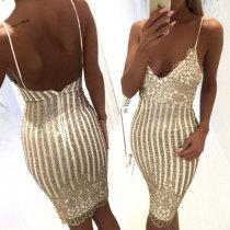 Sexy Lady Sequin Condole Belt Bodycon Dress KLY2163