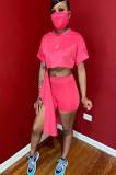 Pink Solid Color Roll-up Sleeve Crop Top & Shorts Sets OEP6168
