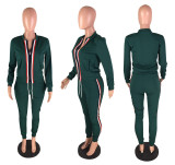 Sport Bodycon Women Outfits Zipper Coat Pencil Pants W8141