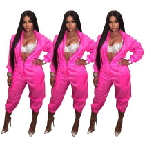 Solid Elastic Waistband Jumpsuit With Zipper SDD9058