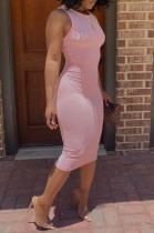 Pink Casual Polyester Sleeveless Round Neck Tank Dress BBN086