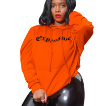 Orange Hot Sale Letter Print Hooded Sport Top Tee ShirtYYZ733