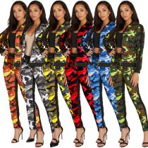 Camouflage Print Two Pieces Sets Sports Outfits SMR9118