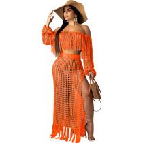 Orange Crochet Tassel Fringe Skirts Two Pieces Sets SN3554