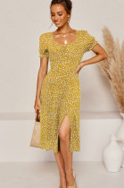 Yellow Simplee Ditsy Floral Woven Fabric Short Sleeve Square Neck High Waist Jag Midi Skirt NS5813