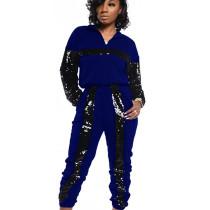 Blue Fashionable Sequin Splicing Leisurewear Outdoor Ladies Sets BN9213