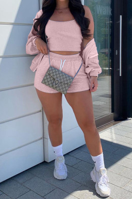 Pure Color Casual Polyester Long Sleeve Hoodie Shorts three-piece S6230