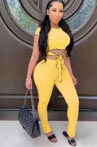 Yellow Casual Short Sleeve Round Neck Wavy Ruffles Tee Top Long Pants Sets CM753