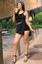 Black Front Button Up Crop Tank Top & Asymmertrical Hem Elastic Mini Skirt Sets LSN709