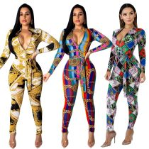 Long Sleeves Sexy Colorful Print Bodycon Jumpsuits