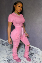 Pink Casual Short Sleeve Round Neck Ripped Ruffle Crop Top Long Pants Sets LL6285