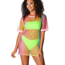 Sexy Bandeau Tops Bikini Sets With Colorful Mesh Cover Ups BLX7320