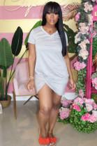 Gray Casual Polyester Short Sleeve Round Neck Ruffle Mini Dress ML7336