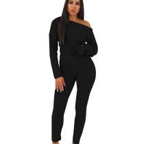 Black Women's Clothing Wholesale Sweaters Pure Color Winter Set QQM3583