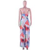 Strappy Halter Neck Backless Print Wide Leg Jumpsuits Q303