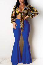 Blue Casual Polyester Mid Waist Flare Leg Pants K8907