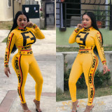 Letter Print Two Pieces Sets Sports Outfits OEP5325