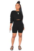 Black Drop Shoulder Crop T shirt Top & Elastic Waist Side Pocket Shorts Sets WY6681