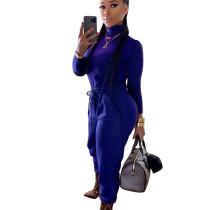 Dark Blue High Collar T-Shirt Elastic Waist Bodycon Pants Newest Winter Outfits K8874
