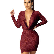 Wine Red Explosion Models Long Sleeved Solid Sequin Bodycon Dress JLX8921