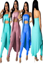 Newset Style Solid Strapless Overlay Tops Pants Sets MDO9017