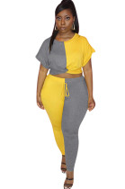 Two Tones Yellow&Gray Front Twist Roll-up Sleeve Pants Set OEP6160