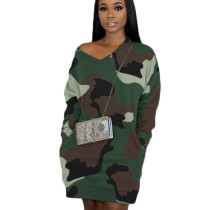 Green High Quality Camouflage V Neck Lantern Dress With Pockets BBN038