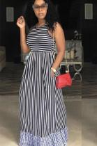 Stripes Spliced Bell-bottom Loose Long Dress W8267