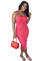 Red Zebra Skinny Cami Dress OMY8036