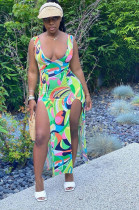 Multi Sexy Polyester Sleeveless Deep V Neck Split Long Dress MR2036