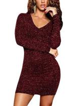 Wine Red Elegent Glitter Long Sleeve Lapel Neck Above Knee / Short Skirt JLX6862