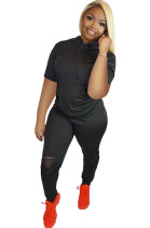 Black Side Ruched Hoodie Top & Ripped Pants Sets DN8380