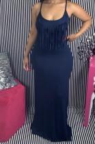 Black Casual Polyester Sleeveless Halterneck Tassel Hem Long Dress N9218