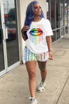 White Casual Polyester Mouth Graphic Short Sleeve Round Neck Tee Top Shorts Sets AMM8219