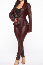 Wine Red Casual Pu Leather Long Sleeve Flounce Utility Blouse Long Pants Sets BBN026