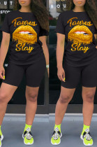 Black Casual Polyester Mouth Graphic Short Sleeve Round Neck Tee Top Shorts Sets W8284
