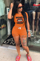 Orange Casual Letter Mouth Graphic Short Sleeve Round Neck Ripped Tee Top Shorts Sets ML7330